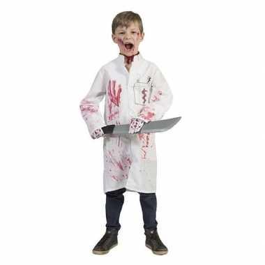 Carnavalskleding witte doktersjas bloed jongens helmond
