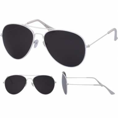 Carnavalskleding witte piloten bril dames/heren helmond