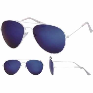 Carnavalskleding witte pilotenbril dames/heren helmond