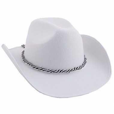 Carnavalskleding witte western hoed helmond