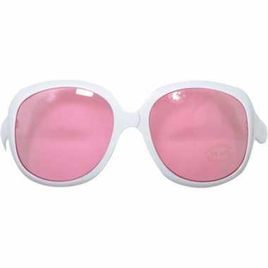 992d3f6b5822b9 Carnavalskleding Witte zonnebril groot roze glazen helmond ...
