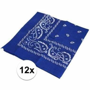Carnavalskleding x blauwe bandana zakdoek helmond