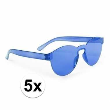 Carnavalskleding x blauwe partybril volwassenen helmond