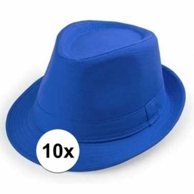 Carnavalskleding x blauwe trilby hoedjes volwassenen helmond