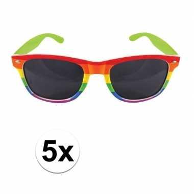 Carnavalskleding x carnavalaccessoires bril regenboogkleuren helmond