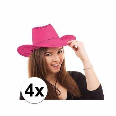 Carnavalskleding x cowboy hoed roze toppers helmond