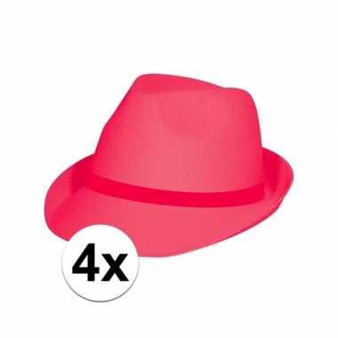 Carnavalskleding x feest toppers hoedjes fuchsia roze helmond