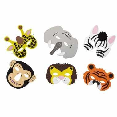 Carnavalskleding x foam safari dieren maskertjes kinderen helmond