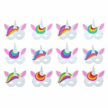 Carnavalskleding x foam unicorn/eenhoorn dieren maskertjes kinderen h