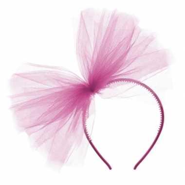 Carnavalskleding x fuchsia roze tule diadeem helmond