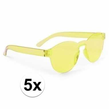 Carnavalskleding x gele partybril volwassenen helmond