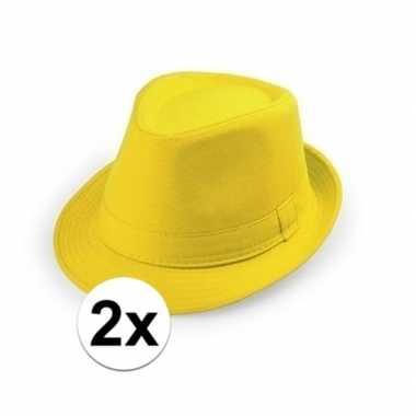Carnavalskleding x gele trilby hoedjes volwassenen helmond