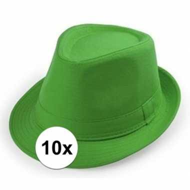 Carnavalskleding x groene trilby hoedjes volwassenen helmond