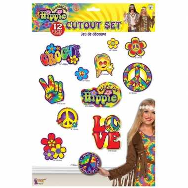 Carnavalskleding x hippie decoratie bordjes helmond