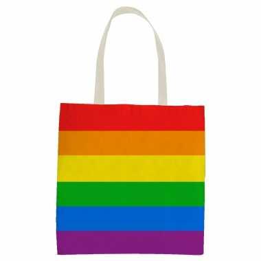 Carnavalskleding x katoenen/canvas boodschappentasje/shopper regenboog/rainbow/pride vlag volwassenen kids helmond