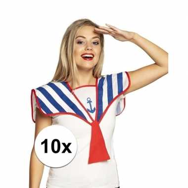 Carnavalskleding x marine/matroos verkleed kraag helmond
