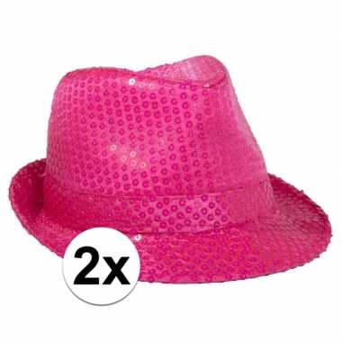 Carnavalskleding x neon roze gleufhoed pailletten helmond