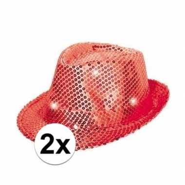 Carnavalskleding x rode glitter hoedjes led licht helmond