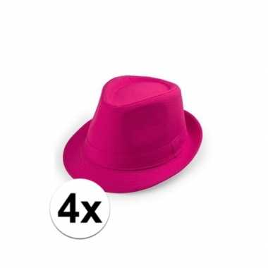 Carnavalskleding x roze trilby hoedjes volwassenen helmond
