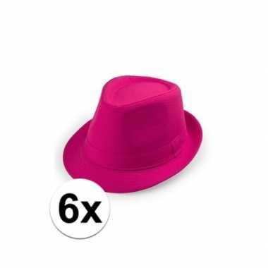 Carnavalskleding x roze trilby hoedjes volwassenen helmond 10109531