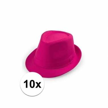 Carnavalskleding x roze trilby hoedjes volwassenen helmond 10109533