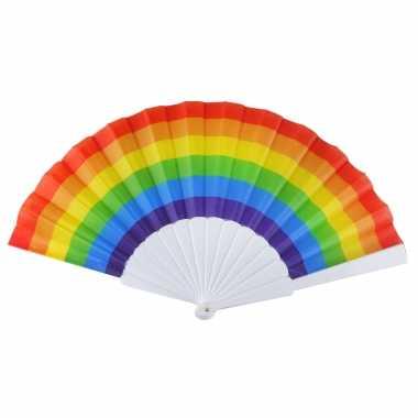 Carnavalskleding x spaanse hand waaiers regenboog/rainbow/pride vlag helmond