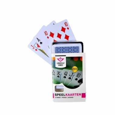Carnavalskleding x speelkaarten plastic poker/bridge/kaartspel box helmond