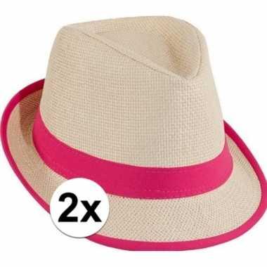 Carnavalskleding x stro trilby hoedje roze toppers concert helmond