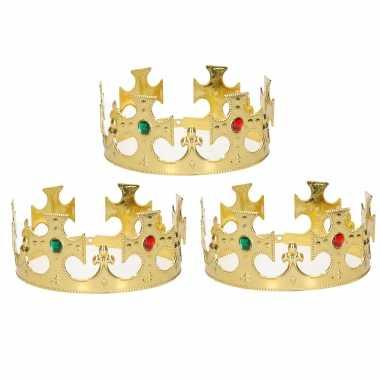 Carnavalskleding x stuks gouden koning / prinsen kronen heren helmond