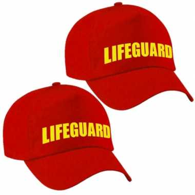 Carnavalskleding x stuks lifeguard / strandwacht verkleed pet rood volwassenen helmond