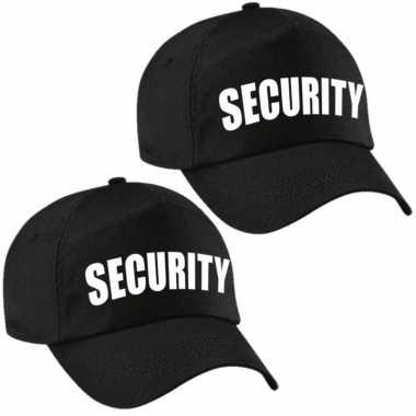 Carnavalskleding x stuks zwarte security verkleed pet / cap kinderen helmond