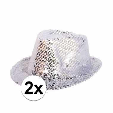 Carnavalskleding x zilveren hoedjes zilveren pailletten helmond