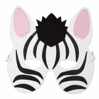 Carnavalskleding zebra foam dierenmasker kinderen helmond