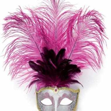 Carnavalskleding zilver oog masker roze veren helmond