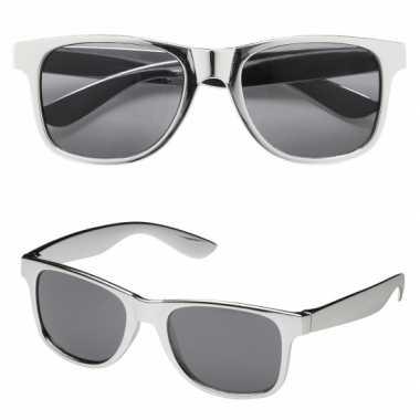 Carnavalskleding  Zilveren feestbril donkere glazen helmond