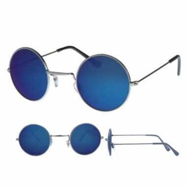 Carnavalskleding zilveren flower power bril ronde blauwe glazen dames