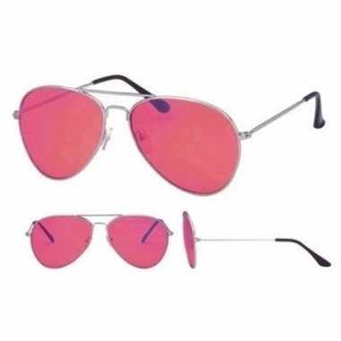 Carnavalskleding zilveren fopbril roze glazen dames/heren helmond