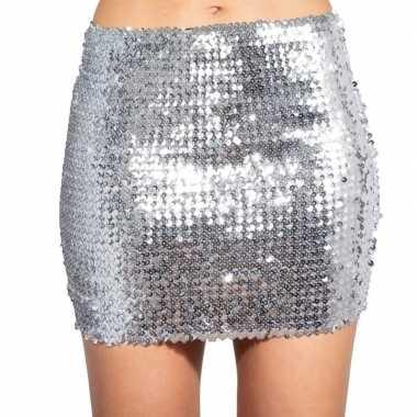 Carnavalskleding zilveren glitter pailletten disco rokje dames helmon