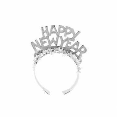 Carnavalskleding zilveren nieuwjaarsdiadeem volwassenen helmond