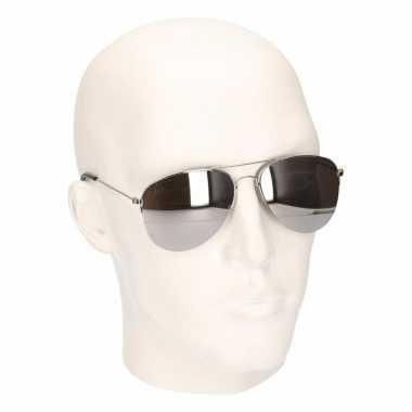 Carnavalskleding zilveren politie zonnebrillen model helmond
