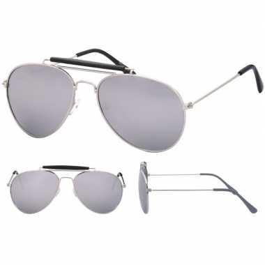 Carnavalskleding zilveren politiebril volwassenen helmond