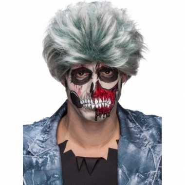 Carnavalskleding zombiepruik gemeleerd grijs heren helmond