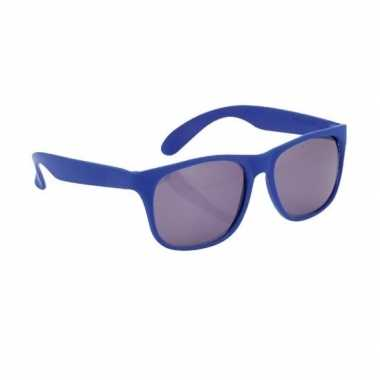 Carnavalskleding zonnebril kunststof blauw montuur helmond