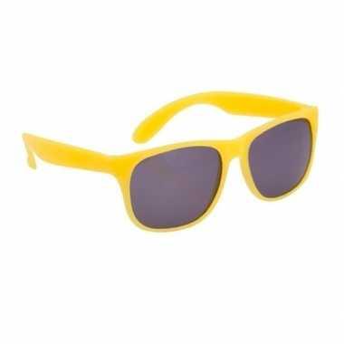 Carnavalskleding zonnebril kunststof geel montuur helmond