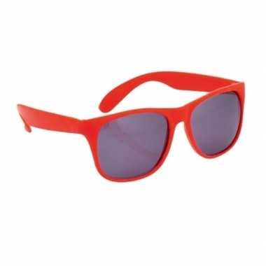Carnavalskleding zonnebril kunststof rood montuur helmond