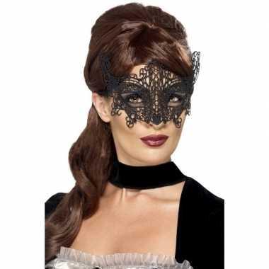 Carnavalskleding zwart geborduurd kanten oogmasker dames helmond