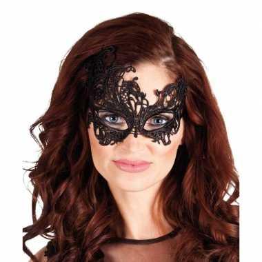 Carnavalskleding zwart kanten oog masker dames helmond