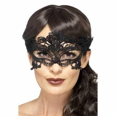 Carnavalskleding zwart kanten oogmasker dames helmond