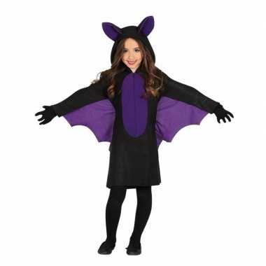 Carnavalskleding zwart paars vleermuizen jurkje meisjes helmond