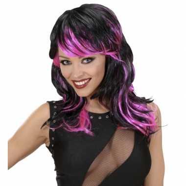 Carnavalskleding zwart roze punk pruik helmond